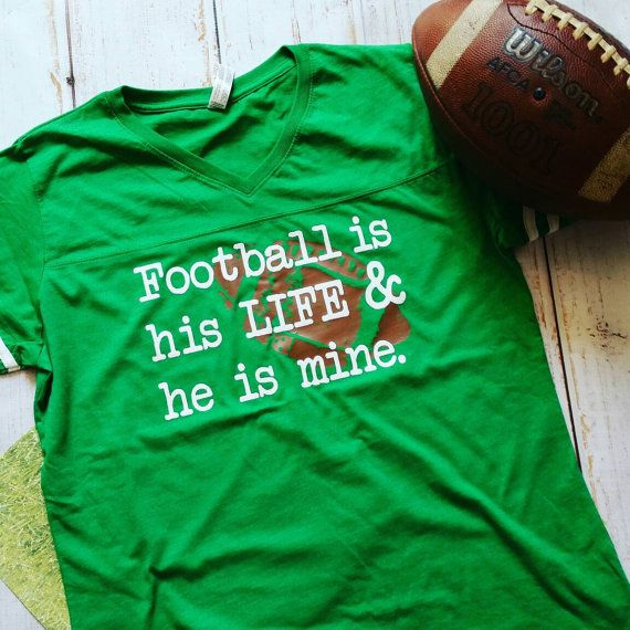 Football Mom shirt: vneck with rugby stripes by YoureSuchATees