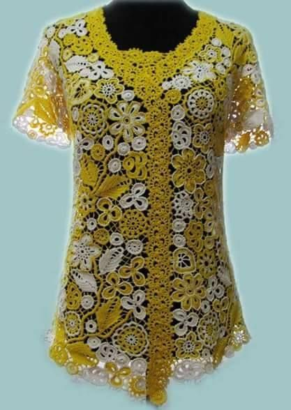 Lovely yellow Irish crochet top