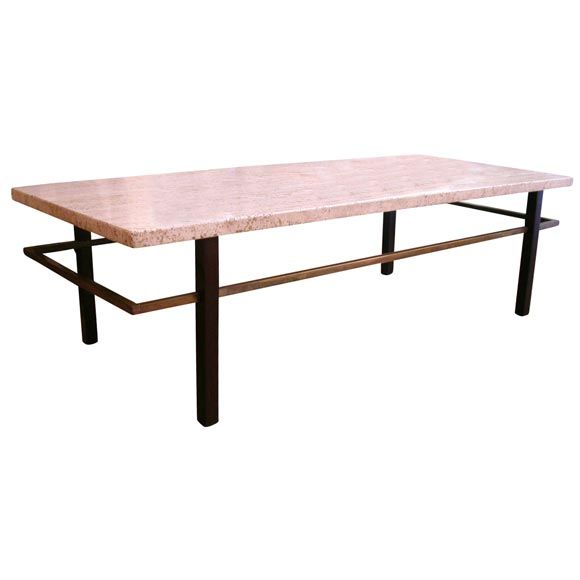 1stdibs.com | Harvey Probber Coffee/ Cocktail Table Travertine Top