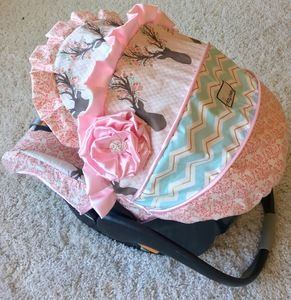 Fancy Stag, Coral, Pink, and Mint Custom Infant Car Seat Cover