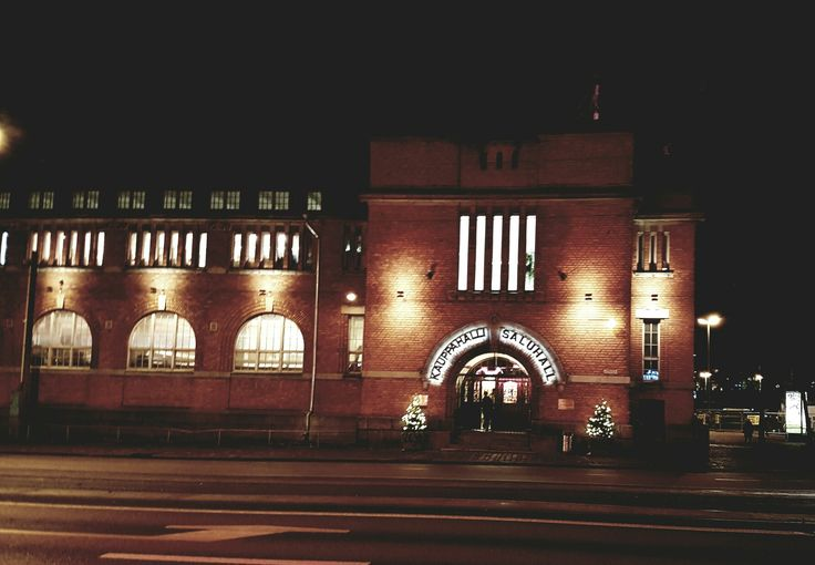 Helsinki Hakaniemi market hall by night.