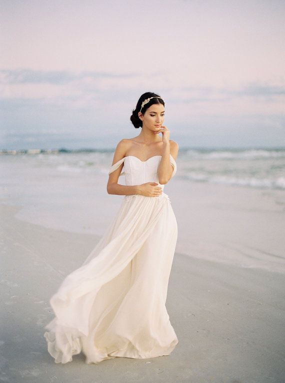 Chiffon and Lace Wedding Dress, Ivory Silk Chiffon Wedding Dress, Off The Shoulder Wedding Gown, Romantic Wedding Dress - Colette Gown
