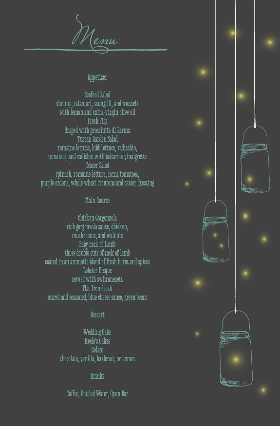 The Mason Jars and Fireflies Wedding Menu