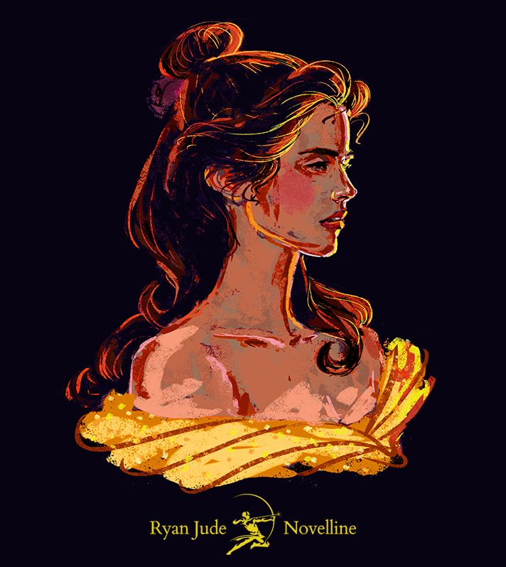 Illustration Portrait Emma Watson as Belle from Beauty and the Beast (2017). 2015. See the process video on youtube.