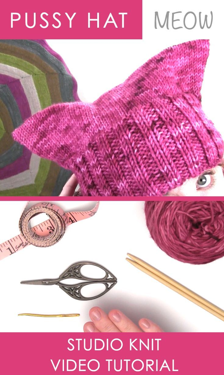 How to Knit the Pussy Hat with Easy, Free Knitting Pattern + Video Tutorial by Studio Knit via @StudioKnit