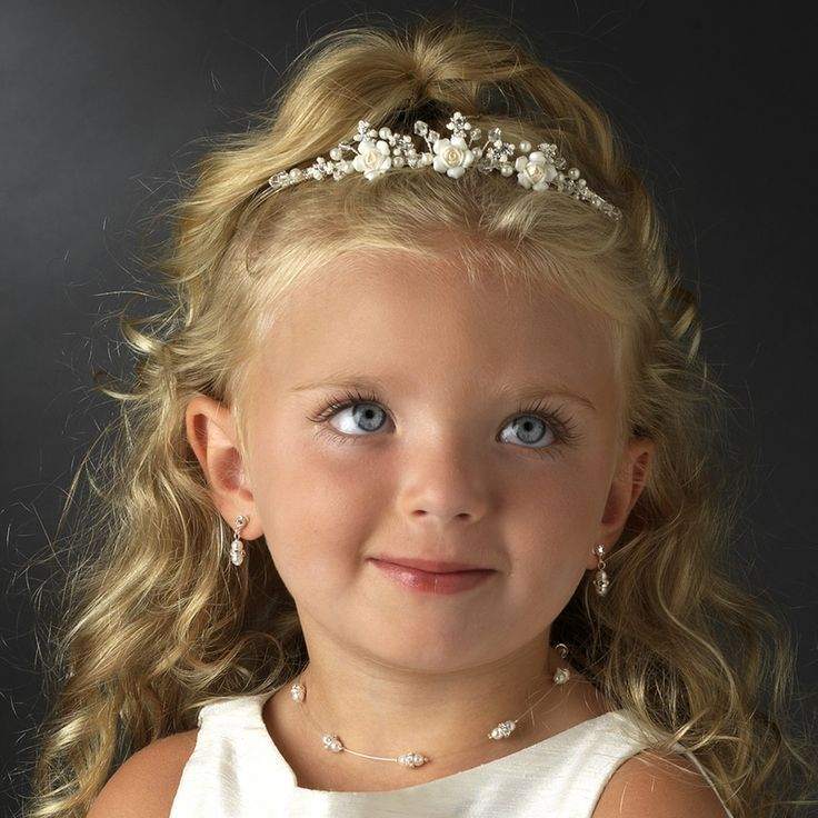 Image result for easy wedding hairstyles for flower girl tiara 1920s