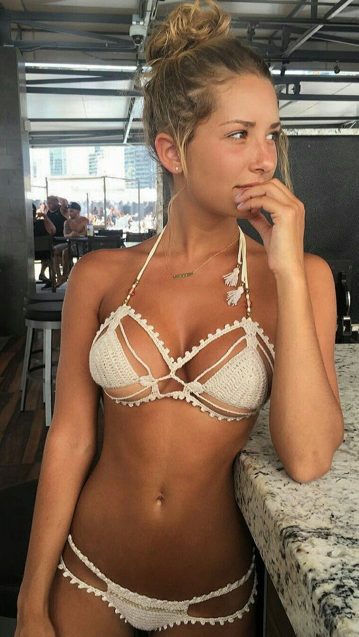 she's sexy!! love her cute crochet bikini!