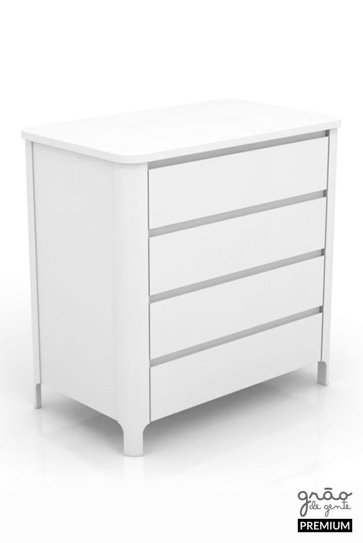 Cômoda 4 Gavetas Bloom White    – Móveis para quarto de bebê   Grão de Gente Premium