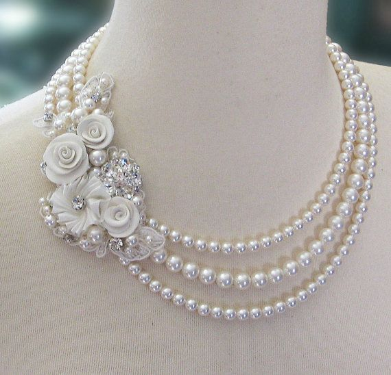 Swarovski Pearl Statement Necklace with Crystals, Triple Strand, with Lace and Flowers - WEDDING CAKE