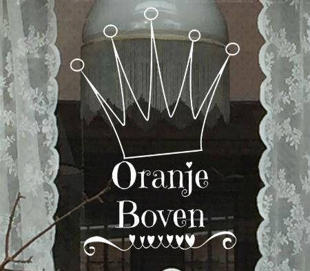 #Raamtekening #Oranje boven. Leuk om op je raam te zetten voor #Koningsdag! Maak deze #DIY #raamdecoratie voor met dit direct te #downloaden #sjabloon voor een raamtekening. Te koop in #etsyshop #krijtstifttekening ontwerp door #cecielmaakt