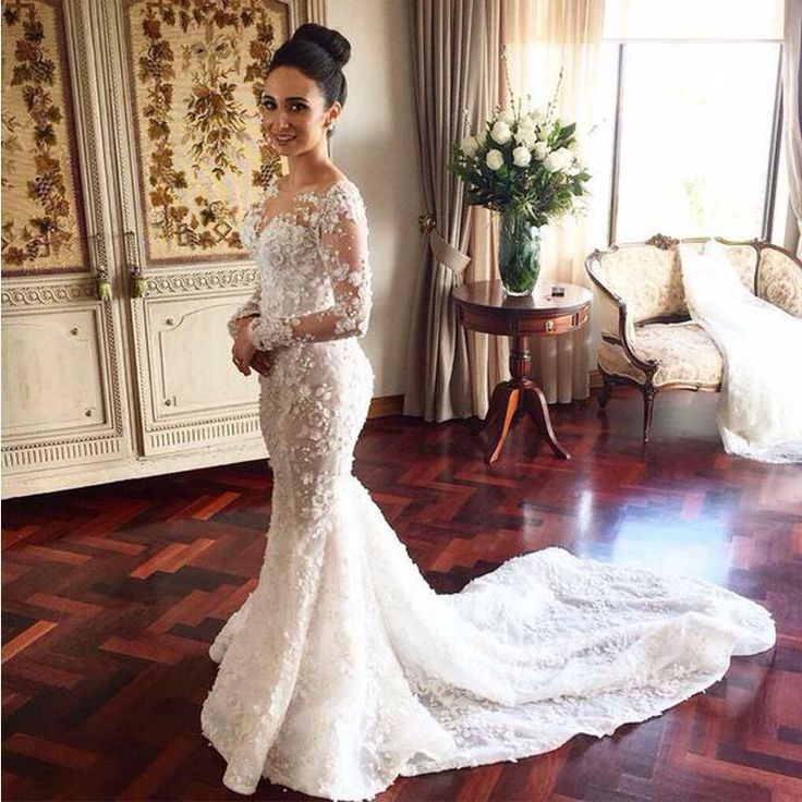 Find more wedding dresses information about sheer crew for Crew neck wedding dress