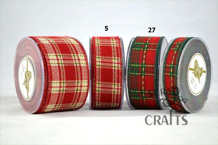 Βαμβακερή+καρό+κορδέλα+σε+κόκκινο+χρώμα.Κατάλληλη+για+χειμερινή+και+χριστουγεννιάτικη+διακόσμηση.+Τελείωμα+σύρμα