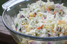 Tropical Slaw - diced mango and pineapple make this slaw super refreshing and summery!  My husband and I loved it and we don't even like coleslaw!