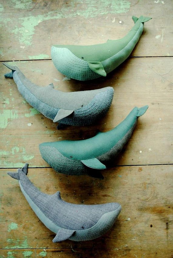 Blue whale soft toy sewing pattern / stuffed animal / sea creature / digital tutorial template DIY