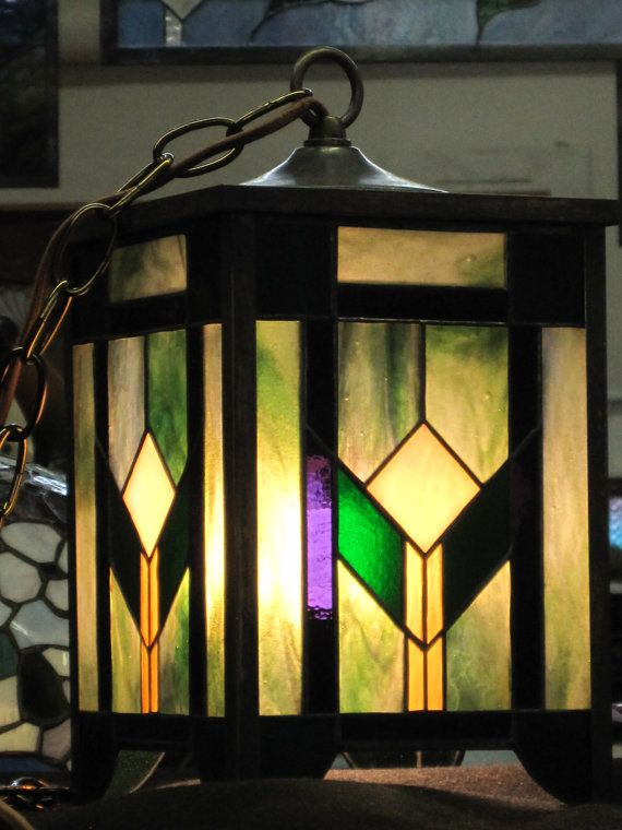 Craftsman Style Stained Glass Lantern by RenaissanceGlass on Etsy, $350.00