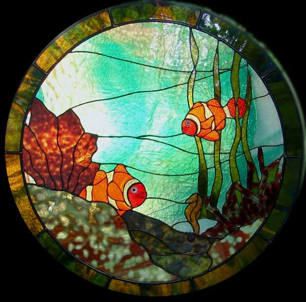Ocean Inspired Stained Glass With Coral and Clownfish