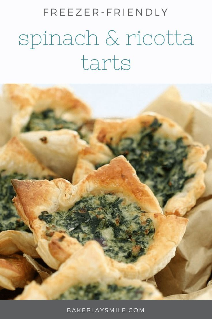 These Spinach & Ricotta Tarts with puff pastry make the most delicious little party food treat… or even a nice lazy lunch. Quick and easy to prepare, great tasting and freezable! These really are so good. #spinach #ricotta #pastries #tarts #best #easy #