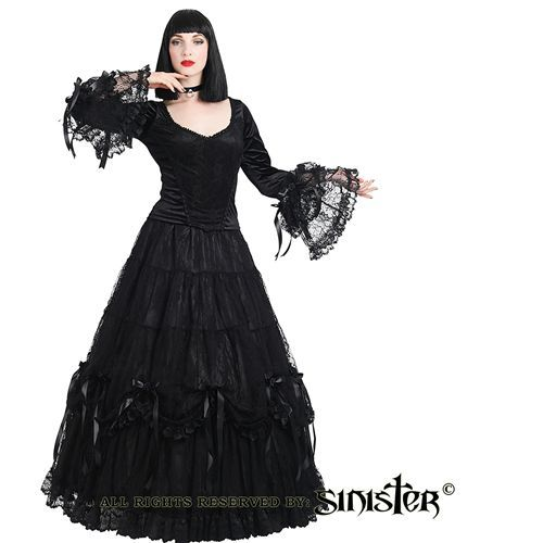 Lillian satijnen lange rok met kant en strik rozen detail zwart - Gothic Halloween