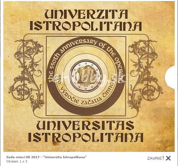 """Súbor mincí vydávaný pri príležitosti """"Univerzita Istropolitana - 550.výročie začatia činnosti"""" už aj v našej ponuke ;)"""