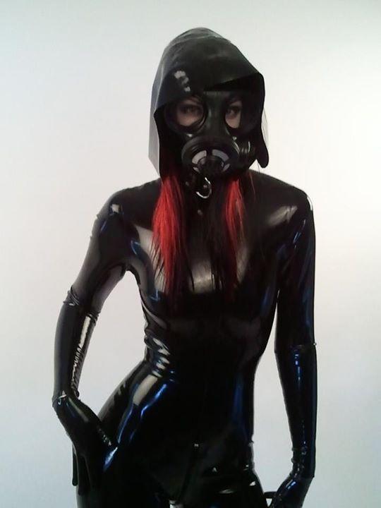 Latex fetish masks and gloves