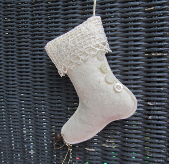 Christmas stocking shoe ornament vintage lace buttons bell
