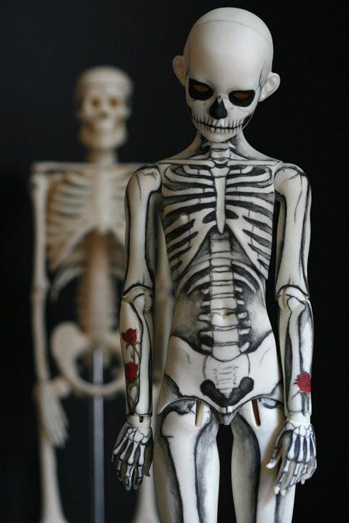 Skeleton boy Ball Joint Doll BJD postcard by melancholykitties, $1.25