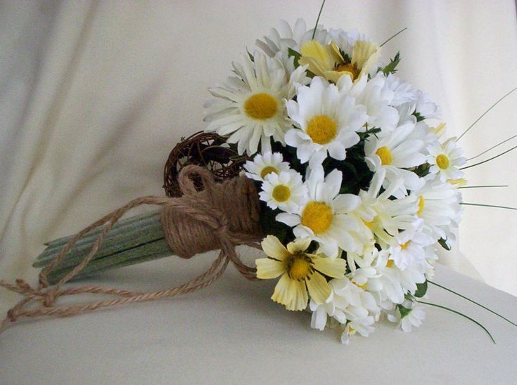 Daisy Bouquet Twine Wrap Hippie Bridal silk Wedding Flowers accessories faux daisy country Bridesmaid bokay. $71,00, via Etsy.