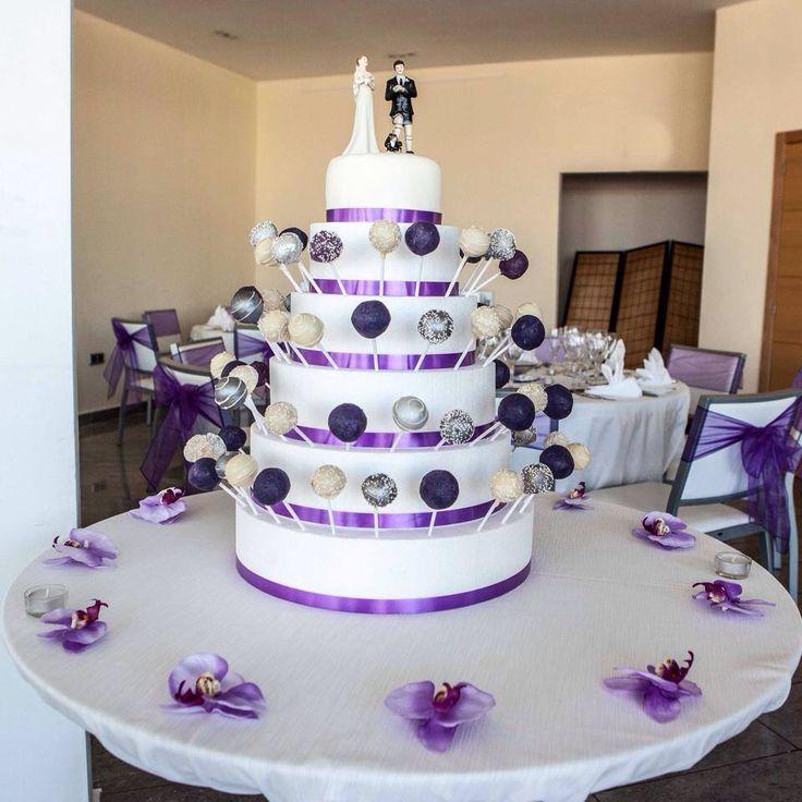 Wedding cake pops purple