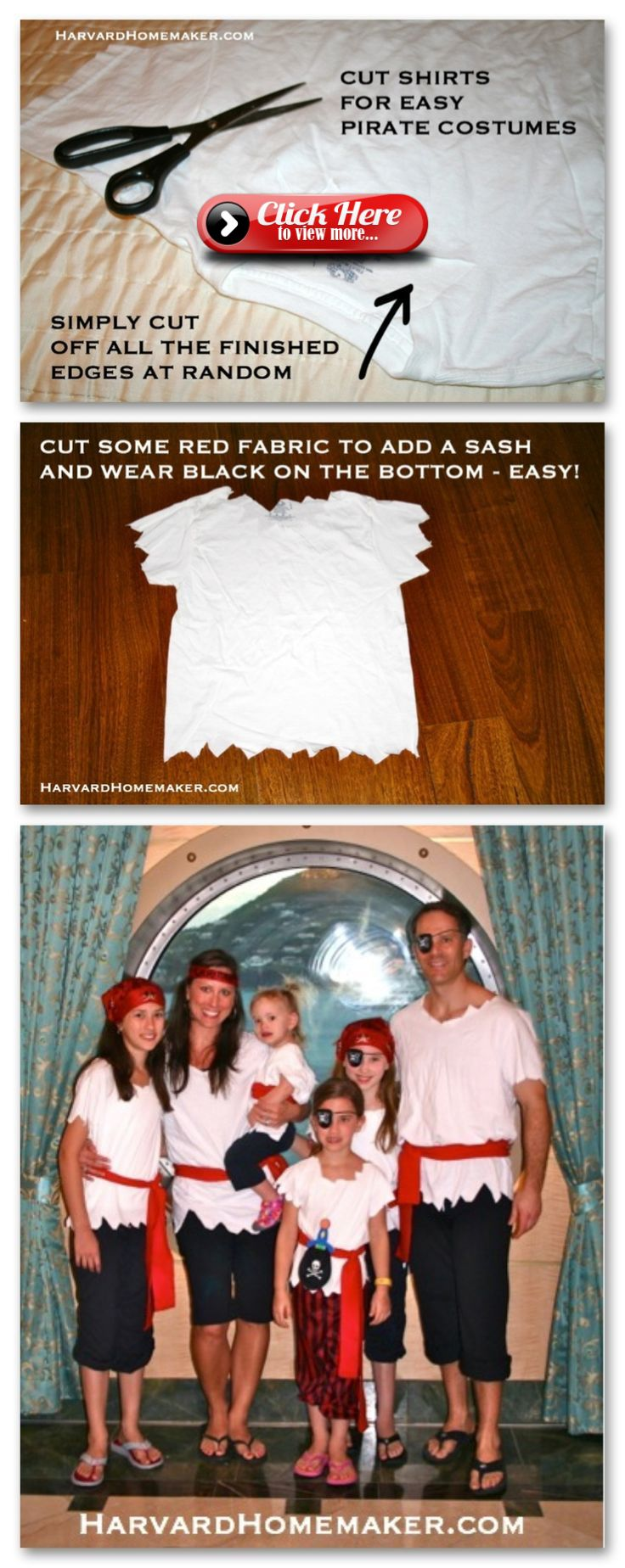 Pirate Costumes DIY  no sew. Article is: 15 things to pack for a Disney Cruise. …