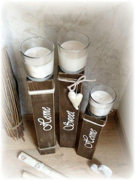 Kerzenständer 3tlg. Shabby chic braun, Holzsäule von Hasterklabaster auf DaWanda.com