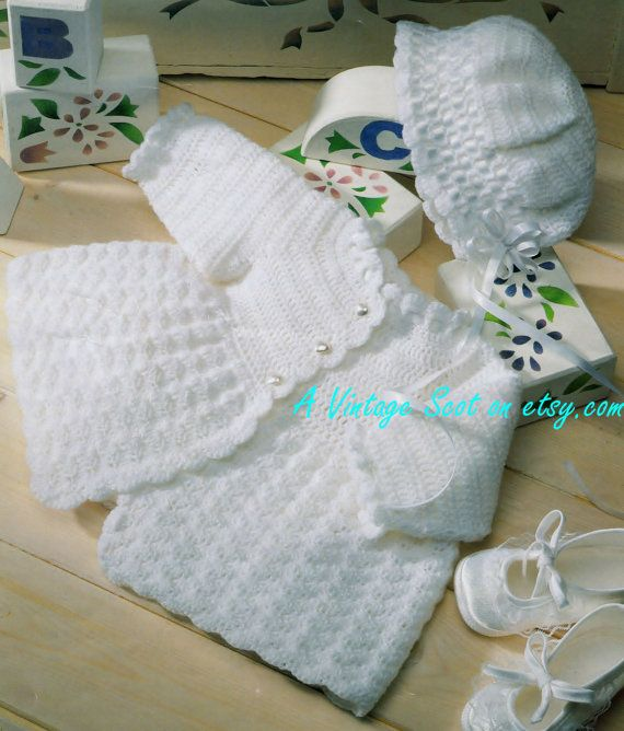 Baby 3ply Fingering Matinee Jacket and Bonnet in by avintagescot