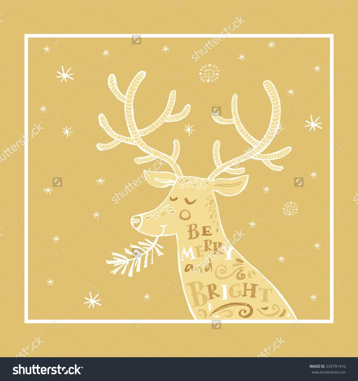 Hand Drawn Christmas  Card With Deer, Snowflakes And Frame. Holiday Golden  Background.Unique Hand Drawn Design.Vector Illustration. - 534791416 : Shutterstock