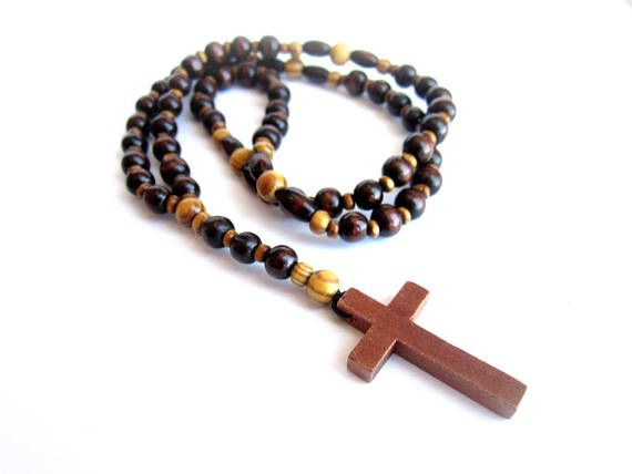 Wooden rosary necklace mens rosary wood mens wooden cross
