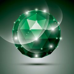 Abstract 3D emerald gala sphere with gemstone effect, green glos