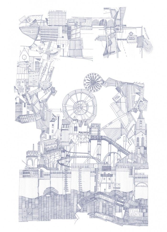 drawing from series 'Six Cities' drawn by Nigel Peake | 2007