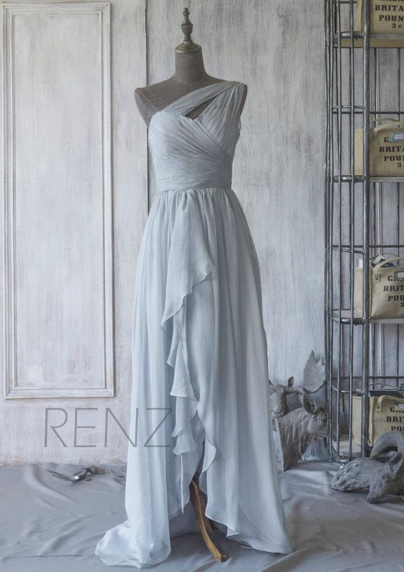 Get this in a light green/aqua and add a sparkly belt :) ... 2015 Grey Bridesmaid DressChiffon High Low Wedding by RenzRags
