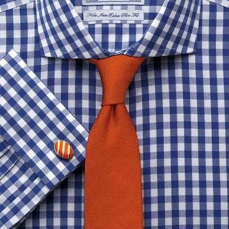 Navy gingham non-iron extra slim fit shirt | Tailored fit dress shirts from Charles Tyrwhitt | CTShirts.com