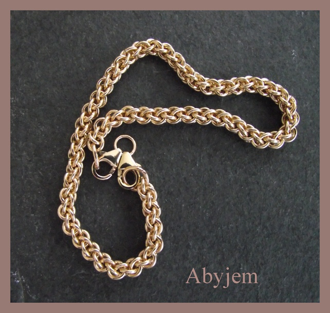 Goldfill Chainmaille bracelet - for big hole beads - bhb - handmade free UK P £52.00