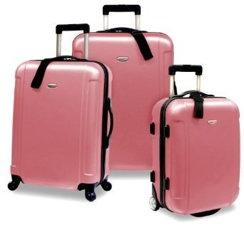 luggage set 3 piece hard shell spinner lite luggage travel set u0026 carry on pink 156