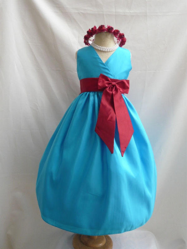 TURQUOISE APPLE RED WEDDING FLOWER GIRL DRESS 1 -1 4