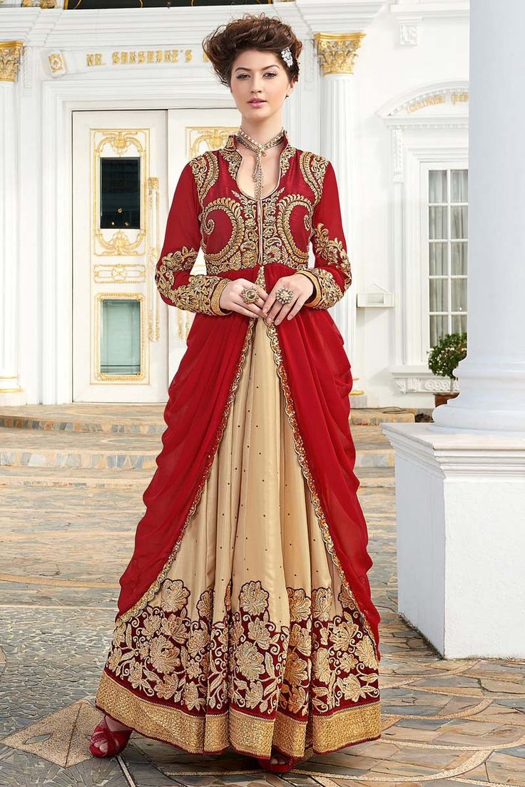 Red heavy bridal anarkali frock 7 suitanarkali in - Red Georgette Anarkali Suit