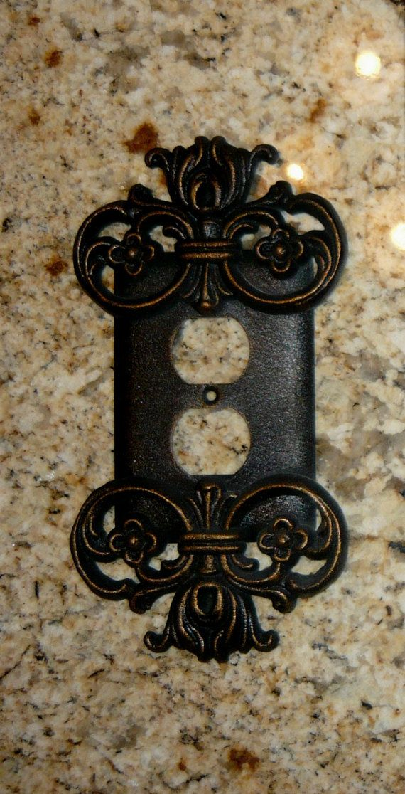 Metal Outlet Plate Cover FREE USA SHIPPING by fleurdelisjunkie