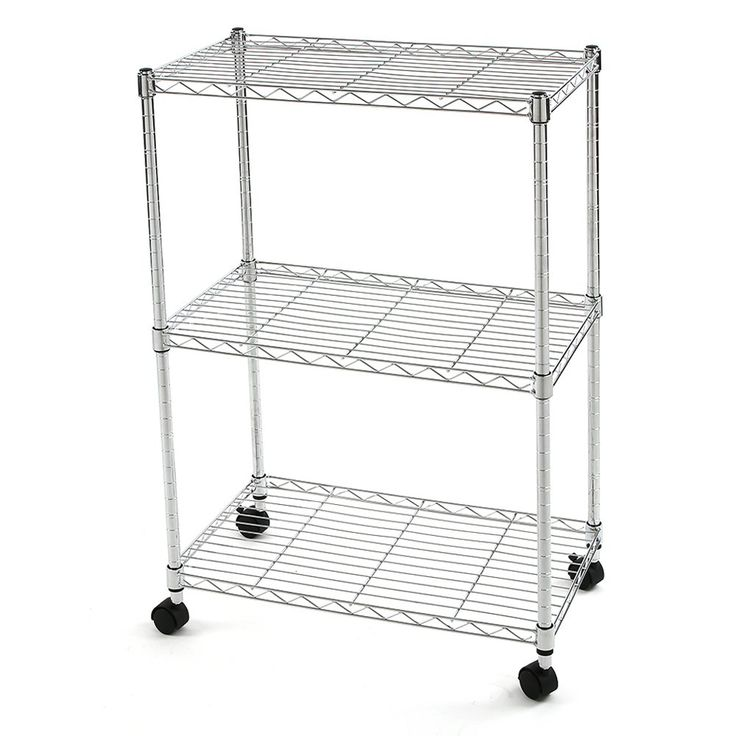 Finnhomy 3 Tier Heavy Duty Wire Rack Shelving with Wheels Metal Adjustable  Rolling Shelving Unit. Best 25  Wire rack shelving ideas on Pinterest   Wire storage
