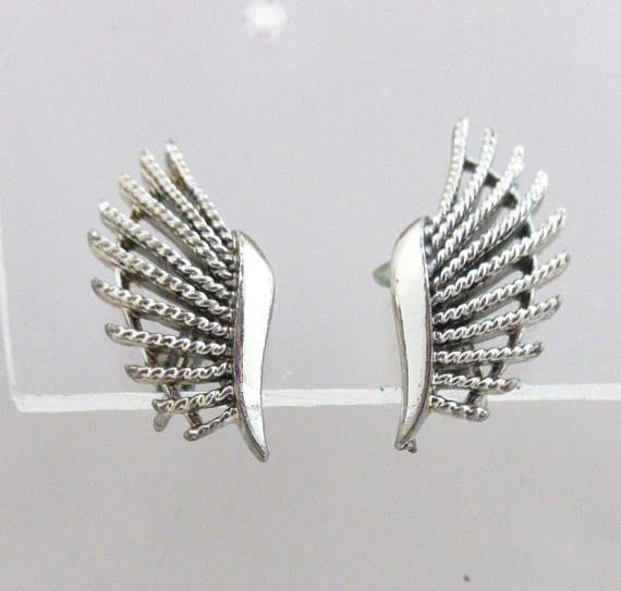 Coro Earrings Silver Clip On Backs Fish Fins Atomic 9027