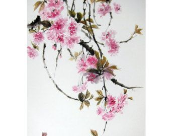 Japanese Ink Painting Japanese art Ink art  Sumi-e Suibokuga Asian art  Rice Paper painting  Large 26 x 18 inch  Weeping double cherry