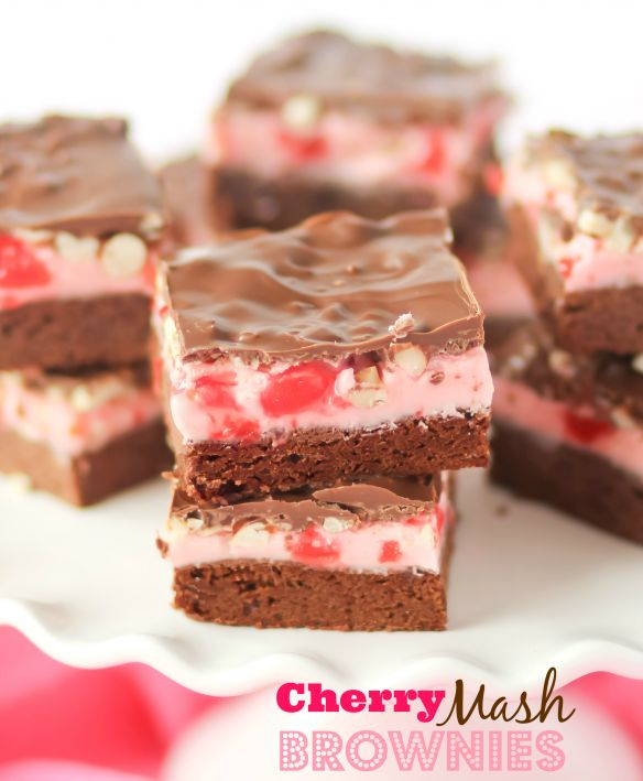 Cherry Mash Brownies -- homemade brownies covered in soft cherry candy, chopped peanuts and chocolate candy coating.
