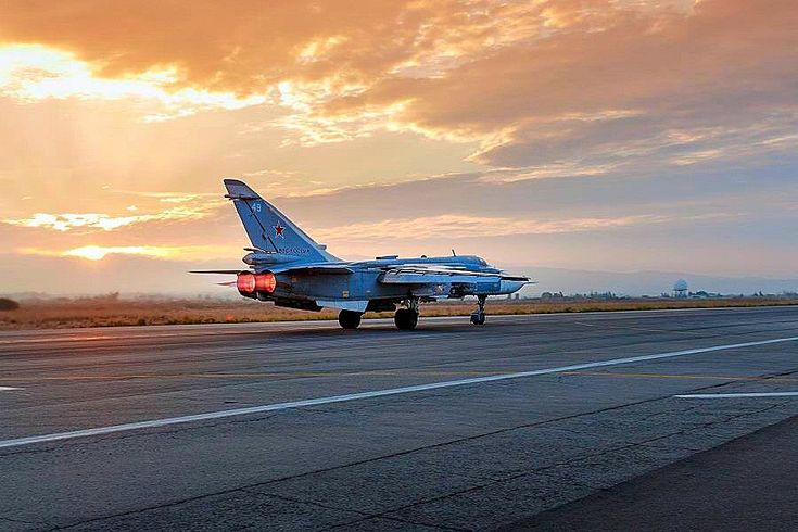 Russian Air Force Sukhoi Su-24 Fencer on takeoff.