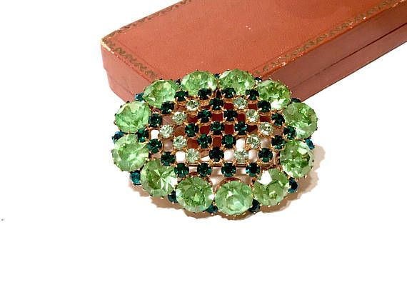 Austrian Rhinestone Crystal Brooch Shades of Green Domed