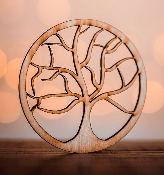 Wooden Coaster Tree for mug - nature - laser cut - for tea cup - for coffee cup - drink - A001