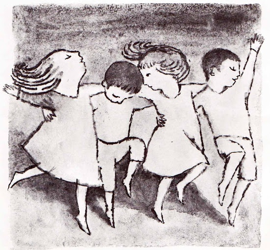 """A study for """"The Moon Jumpers."""" Illustrated by Maurice Sendak."""